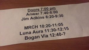 Set Times - Jim Adkins at Valley Bar 4-30-16