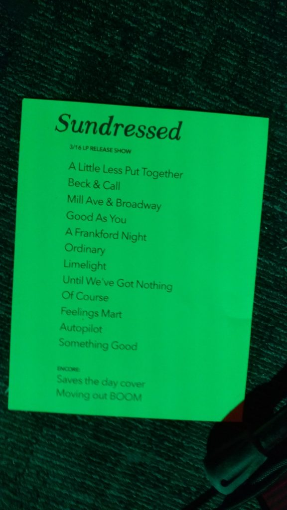 Sundressed LP Release Setlist