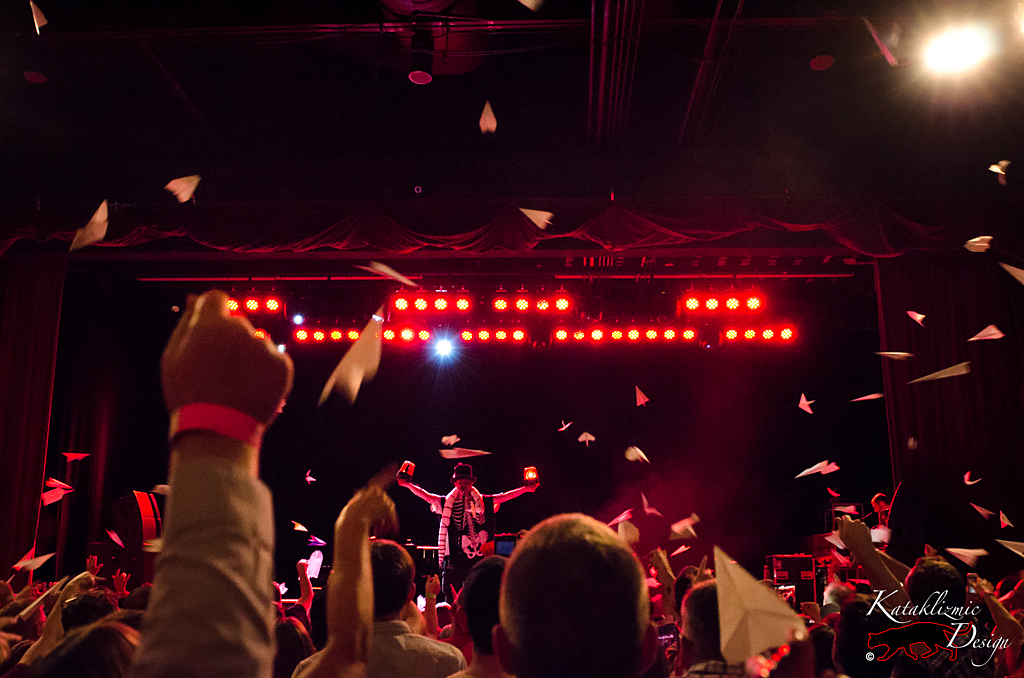 Alice Cooper with Paper Airplanes in the air - Photo Credit: Katherine Amy Vega